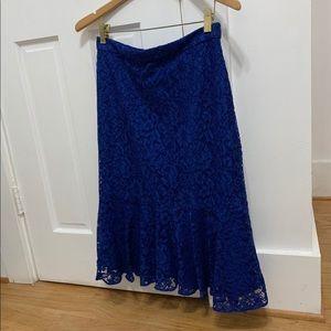 NWT J. Crew Classy Royal blue lace skirt